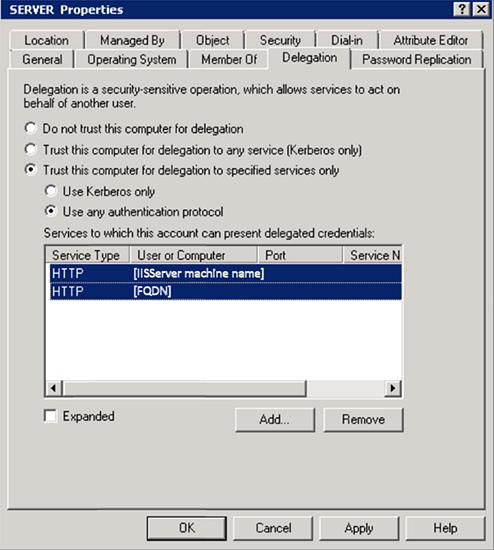 Server Properties: Delegation